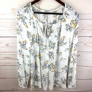 Lucky Brand | White Yellow Blue Floral Blouse